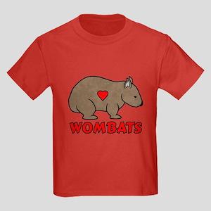 Wombat With A Heart Kids Dark T-Shirt