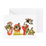 Cartoon kitten cats Christmas Greeting Cards (Pk o