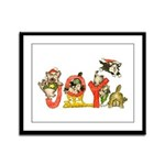 Cartoon kitten cats Christmas Framed Panel Print