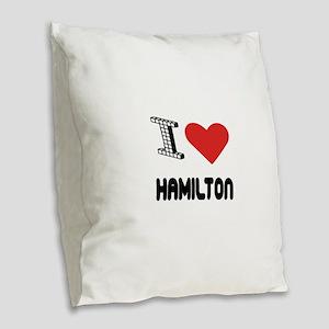 I Love Hamilton City Burlap Throw Pillow