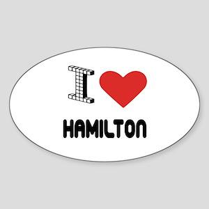 I Love Hamilton City Sticker (Oval)