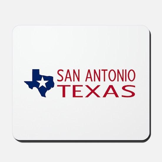 Texas: San Antonio (State Shape & Star) Mousepad