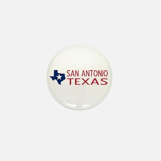 Texas: San Antonio (State Shape & Star Mini Button