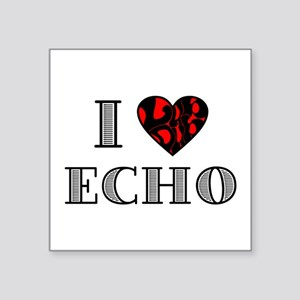 "I Lubdub Echo Red Square Sticker 3"" x 3"""