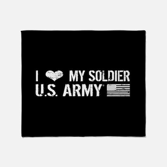 U.S. Army: I Love My Soldier (Black) Throw Blanket