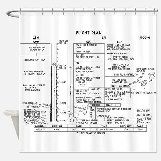 Apollo 11 Flight Plan Shower Curtain
