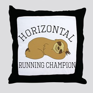 Horizontal Running Champion - Sloth Throw Pillow