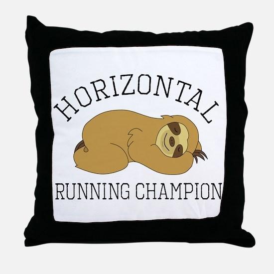 Horizontal Running Champion - Sloth Throw Pillow