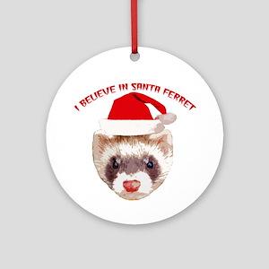 Santa Ferret Ornament (Round)