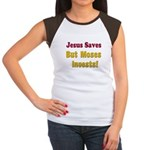 Jesus Saves but Moses Invests Women's Cap Sleeve T