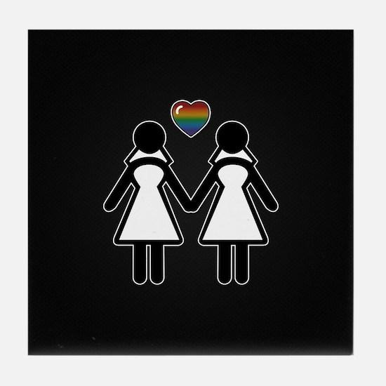 Mrs. & Mrs. Lesbian Pride Brides Tile Coaster