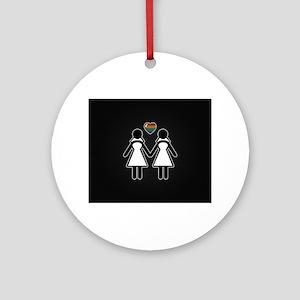 Mrs. & Mrs. Lesbian Pride Brides Round Ornament