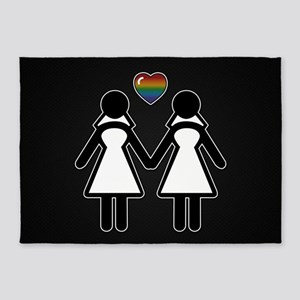 Mrs. & Mrs. Lesbian Pride Brides 5'x7'Area Rug