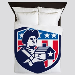 American Patriot Holding House Flag Crest Retro Qu