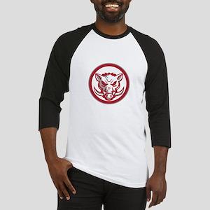 Wild Boar Razorback Head Angry Circle Retro Baseba