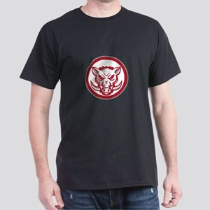 Wild Boar Razorback Head Angry Circle Retro T-Shir