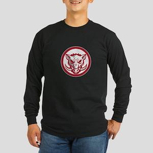 Wild Boar Razorback Head Angry Circle Retro Long S