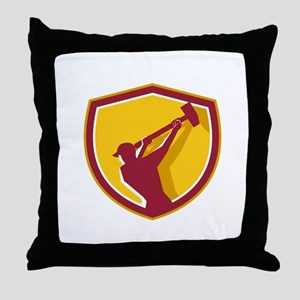 Demolition Worker Sledgehammer Crest Retro Throw P