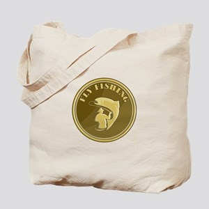 Fly Fishing Gold Coin Retro Tote Bag