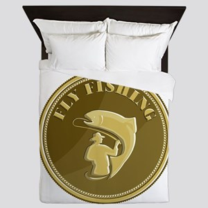 Fly Fishing Gold Coin Retro Queen Duvet