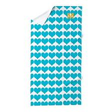 Aqua Blue Hearts Love Romantic Beach Towel