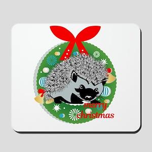 merry christmas hedgehog Mousepad