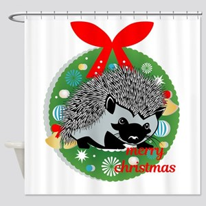 merry christmas hedgehog Shower Curtain