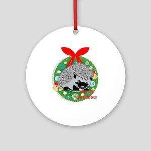 merry christmas hedgehog Round Ornament
