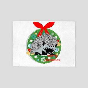 merry christmas hedgehog 5'x7'Area Rug