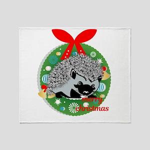 merry christmas hedgehog Throw Blanket