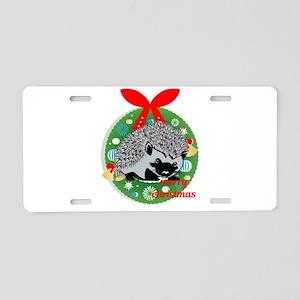 merry christmas hedgehog Aluminum License Plate