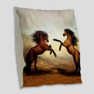 Wild Horses Burlap Throw Pillow