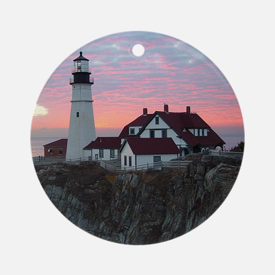 Portland Headlight Sunrise Ornament (Round)