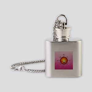 Sailboat And Compass On Pink Flask Necklace