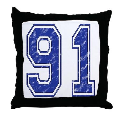 91 Jersey Year Throw Pillow