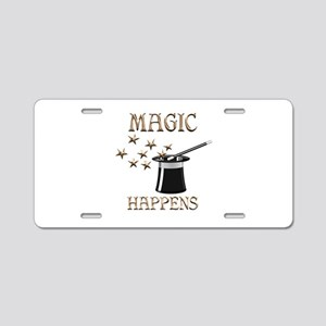 Magic Happens Aluminum License Plate
