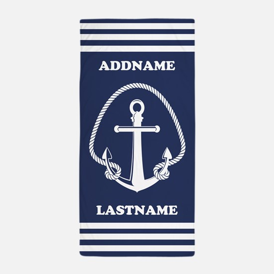 Navy Personalized Anchor Beach Towel