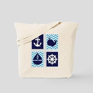 NAUTICAL IMAGES ON BLUE CHEVRON Tote Bag