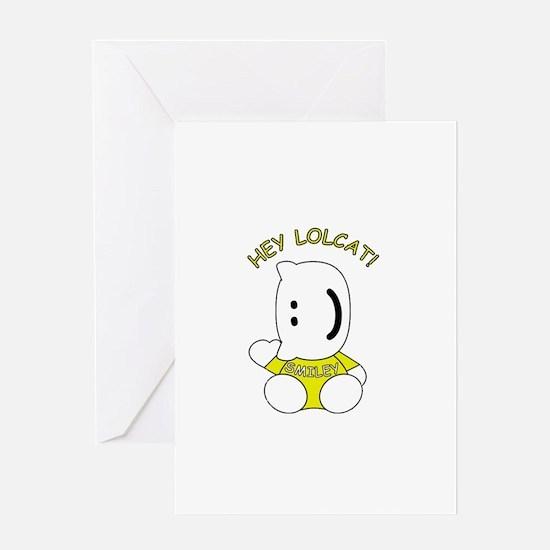 HeyLOLcatSmiley.psd Greeting Cards