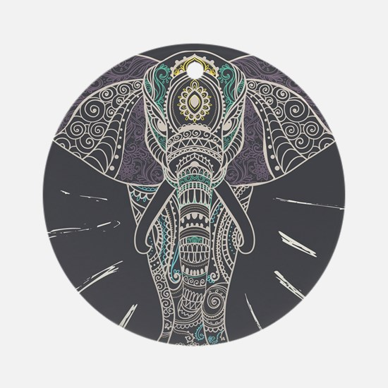 Indian Elephant Round Ornament