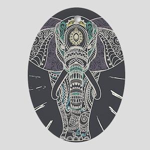 Indian Elephant Oval Ornament