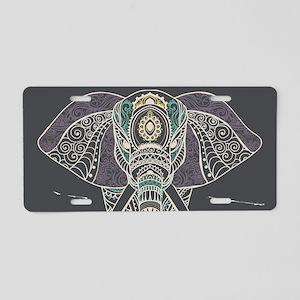 Indian Elephant Aluminum License Plate