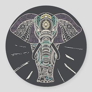 Indian Elephant Round Car Magnet