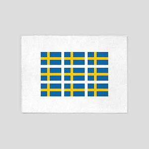 Sweden Flags 5'x7'Area Rug