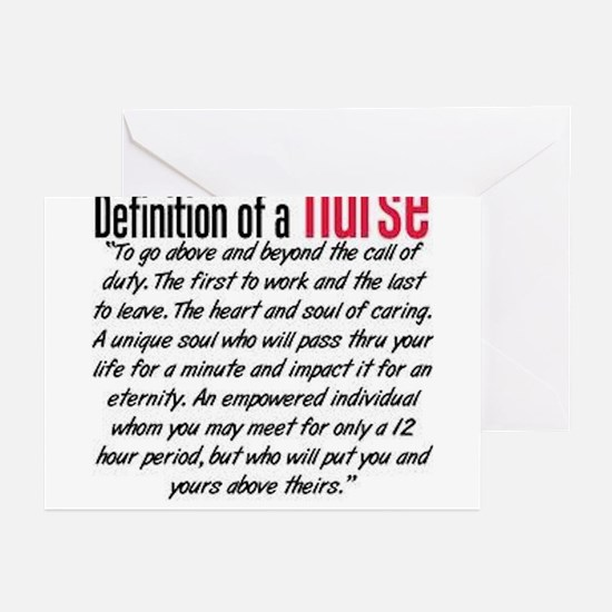 Definition of a nurse Greeting Cards
