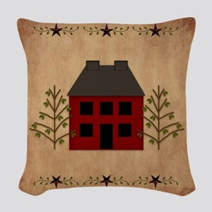 Primitive House Woven Throw Pillow