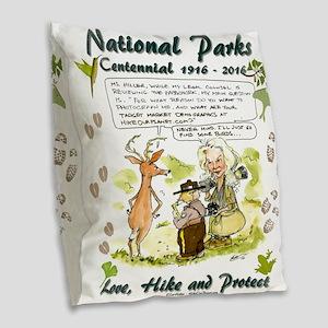 National Parks Centennial Burlap Throw Pillow