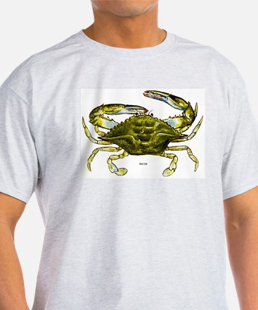 Blue Crab (Front) Ash Grey T-Shirt