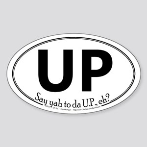 Up White Oval Sticker