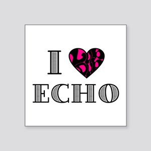 "I LubDub Echo Hot Pink Square Sticker 3"" x 3"""